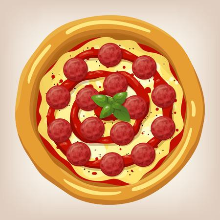 Ilustración vectorial de pizza de pepperoni. conjunto de pizza. icono de estilo de dibujos animados. Menú del restaurante ilustración. Foto de archivo - 54563030