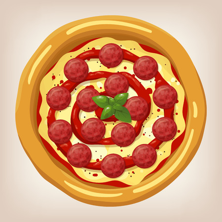 pepperoni: Pizza Pepperoni vector illustration. Pizza set. Cartoon style icon. Restaurant menu illustration.