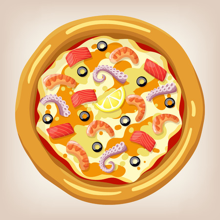Seafood pizza vector illustration. Pizza set. Cartoon style icon. Restaurant menu illustration. Vectores