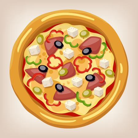 Pizza de ilustración vectorial griega. conjunto de pizza. icono de estilo de dibujos animados. Menú del restaurante ilustración. Foto de archivo - 54563036