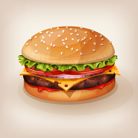 Delicious burger with juicy beef, fresh lettuce, tomato, onion, cheese and ketchup. Vector illustration of yummy hamburger for takeout menu, fast food restaurant or BBQ invitation. Cartoon style icon. Vectores