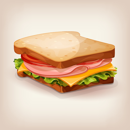 Vector design of delicious sandwich with fresh lettuce, tomato, cheese and ham. Cartoon style icon. Restaurant menu illustration.