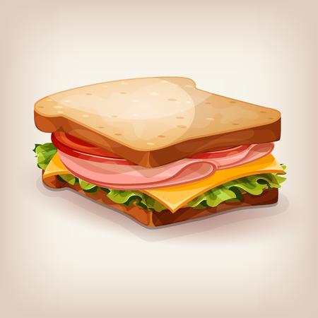 Vector projektowania pyszne kanapki ze świeżą sałatą, pomidorem, serem i szynką. ikona stylu cartoon. Restauracja ilustracji menu. Ilustracje wektorowe