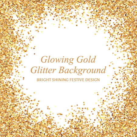 Bright glowing metallic texture. Glamour shining gold glitter frame with sparkles for Christmas design. Vectores