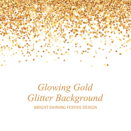 Bright glowing metallic texture. Glamour shining gold glitter vector illustration with sparkles for Christmas design. Vectores