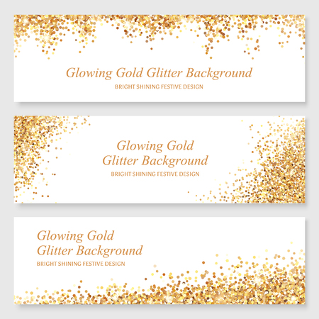 banner design: Bright glowing metallic texture. Glamour shining gold glitter banner design with sparkles for Christmas design.