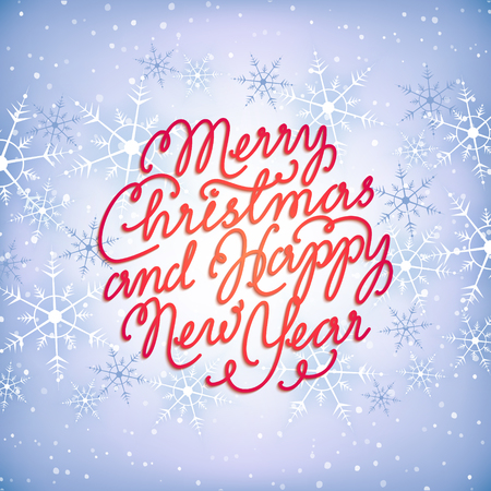Merry Christmas and Happy New Year. Hand-written lettering composition on paper christmas ball and snowflakes background. Holiday illustration, greeting card, poster.