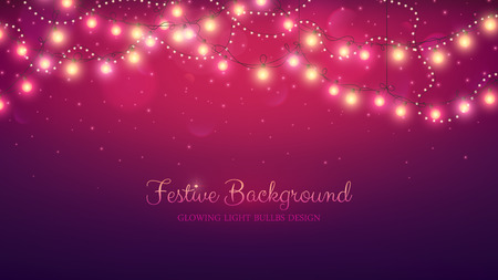 Glowing light bulbs design. Abstract background. Vector illustration. Christmas site header. Vectores