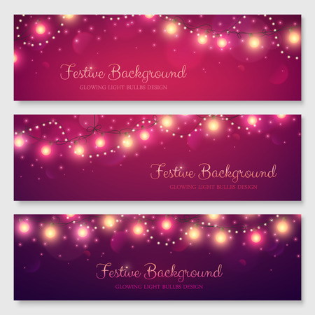 Festive header design for your site. Glowing light bulbs background. Vector illustration. Christmas banners set. Vectores