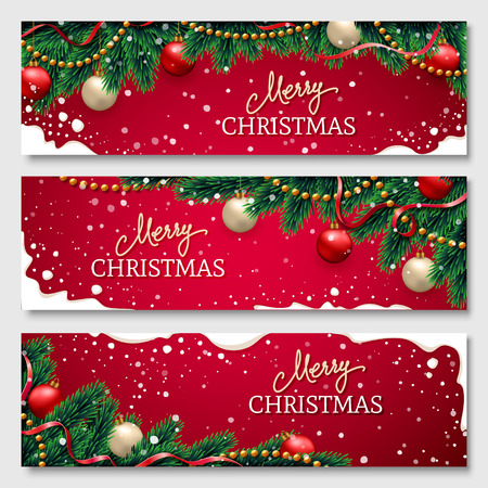 Christmas banners set with fir branches decorated with ribbons, red and gold balls and garlands. With snow frames on red background. Festive header design for your site.