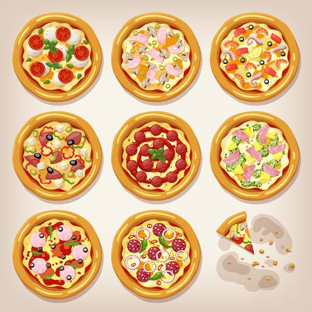 margherita: Various pizzas vector collection. Pizza set. Cartoon style icon. Restaurant menu illustration. Illustration