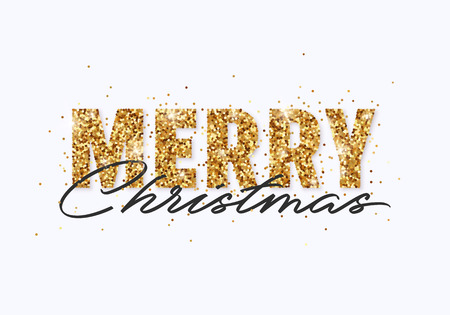 Merry Christmas gold glitter design for greeting card, festive poster, website header. Festive lettering with shining sparkling confetti.