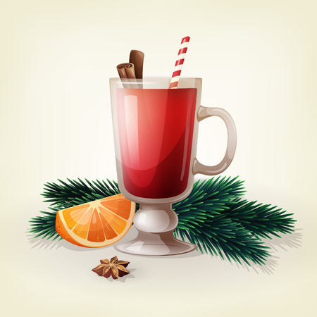 Vector design of hot mulled wine with cinnamon sticks, anise star, orange slice and fir branches. Christmas traditional beverage. Illustration of classic winter drink for bar and restaurant menu. Illustration