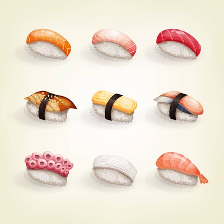 Set of various fresh and delicious  sushi.
