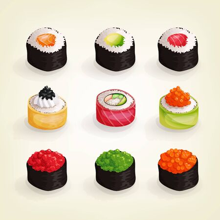 Set of various fresh and delicious sushi rolls.