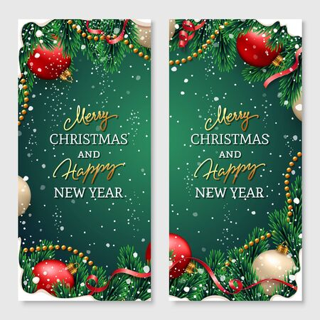 Merry Christmas banners set with fir branches decorated with ribbons, red and gold balls, garlands and snow frames on green background. Festive design for Xmas posters, greeting cards, website headers