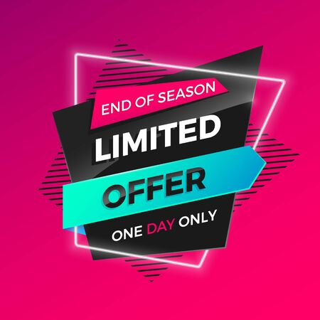 Bright modern Limited Offer banner for advertising discounts. Vector template for design sale poster. Vectores