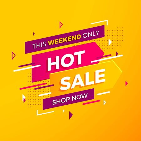 Bright modern Hot Sale banner for advertising discounts. Vector template for design special offer poster. Catchy violet-pink badge on yellow background