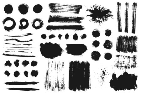 Hand drawn collection of abstract ink spots, brush strokes, lines, textures and paint splashes. Grunge set of graphic illustrations for banner template. Vector elements isolated on white background. Vectores