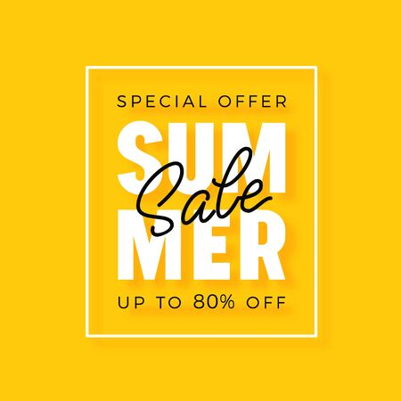Bright modern summer sale poster for advertising discounts.