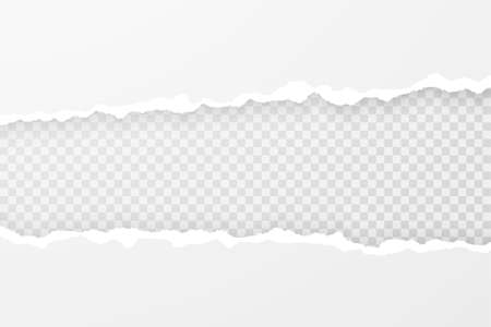 Realistic illustration of torn paper edges. Ripped sheet with soft shadow and place for text or image. Vector template for banner, header, advertisement design. Vektorgrafik