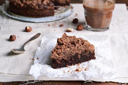 Chocolate Crumble Pie, Hazelnut Brownie Stock Photo