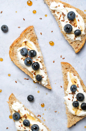 Blueberry Toast, Berries, Cream Cheese Flax Seed and Maple Syrup Dessert, Organic Healthy Meal