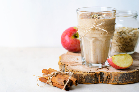 Apple Cinnamon Smoothie with Oats and Chia Seeds, Healthy Homemade Vegan Drink