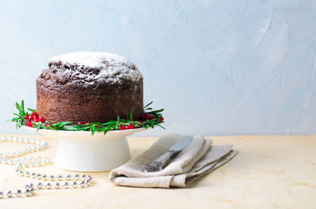 Christmas Cake with Icing Sugar, Rosemary and Pomegranate, Homemade Festive Bakery