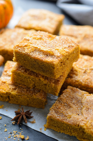 Pumpkin Bars with Cinnamon Sugar Crust, Freshly Baked Spiced Pumpkin Blondies Stock Photo