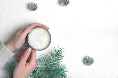 Coffee Mug in Female Hands, Cozy Still Life Concept, Flat Lay, Copy Space, Top View Stock Photo
