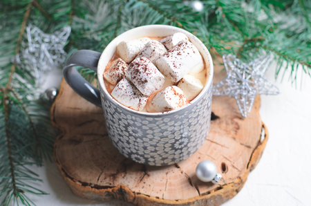 Hot Cocoa Drink with Marshmallow in a Mug on Christmas Background, Winter Chocolate or Coffee Sweet Beverage