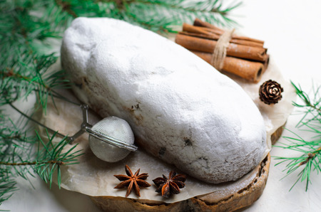 Christmas Stollen,Traditional Fruit Loaf Cake, Festive Dessert with Marzipan and Raisins, Cake for Winter Holidays