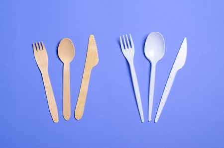 Plastic and Bamboo Cutlery, Plastic Pollution and Environmental Protection Concept, Top View