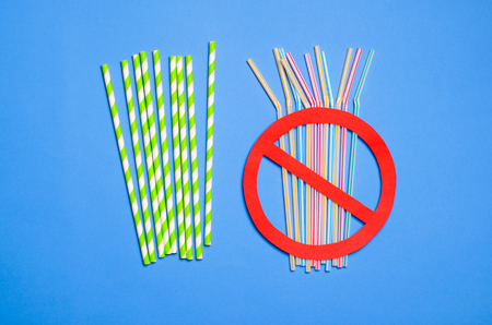 Say No to Plastic Straws, Paper and Plastic Straws, Plastic Pollution and Environmental Protection Concept, Top View