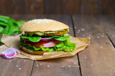 Vegan Burger, Burger with Chickpea Patty, Avocado Spread and Vegetables, Healthy Vegetarian Meal