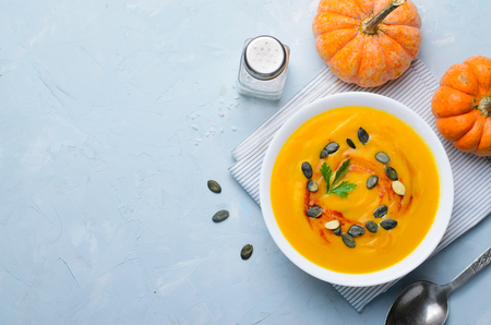 Pumpkin Soup with Pumpkin Seeds and Paprika, Delicious Vegan Meal, Vegetarian Food, Top View