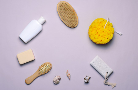 Bath Items Concept, Sponge, Shampoo or Shower Gel, Hair Brush, Pumice Stone, Top View, Flat Lay Standard-Bild