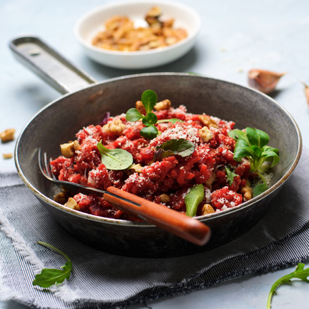 Beetroot Risotto with Parmesan, Italian Cuisine, Vegetarian Meal