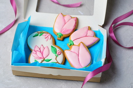 Gingerbread Cookies for March 8, Women's Day, Handmade Cookies with Sugar Icing, Gift Set, Top View
