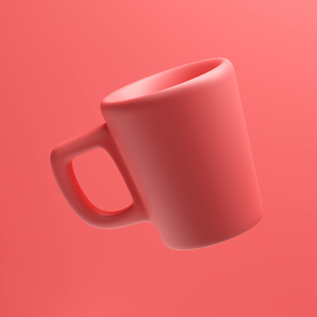 Coral Colored Mug, 3d rendering, Coffee Cup Floating in The Air