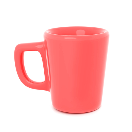 Coral Colored Mug Isolated on White, 3d rendering, Coffee Cup