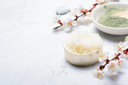 Sugar Scrub, Natural Handmade Cosmetics, Body Spa Treatment, Wellness Background Stock fotó