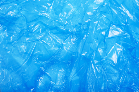Blue Plastic Bag, Crumpled Cellophane, Packaging Material Texture Background 스톡 콘텐츠