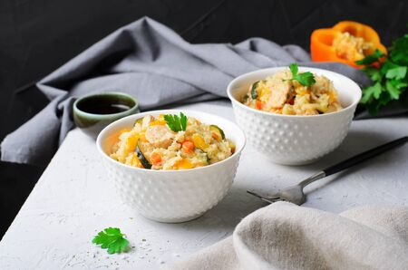 Chicken and Vegetable Rice with Soy Sauce, Tasty Homemade Food Stok Fotoğraf