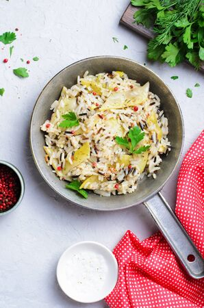 Wild Rice with Yellow Beans in a Skillet, Vegetarian Food Stok Fotoğraf