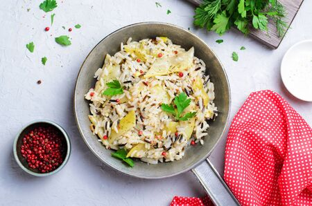 Wild Rice with Yellow Beans in a Skillet, Vegetarian Food Banco de Imagens