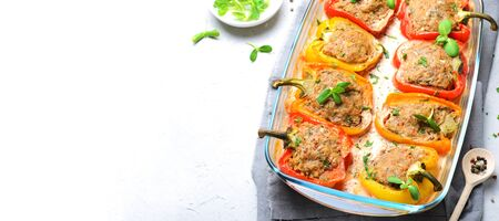 Stuffed Peppers with Meat, Vegetables and Creamy Tomato Sauce on Bright Background Stok Fotoğraf