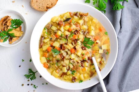 Vegetable Mushroom Soup on Bright Background, Vegetarian Food