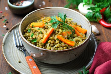 Carrot and Mung Bean Appetizer on Wooden